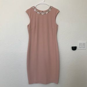 Tahari Dresses - Pink Tahari Midi Dress with Jeweled Collar Size 6